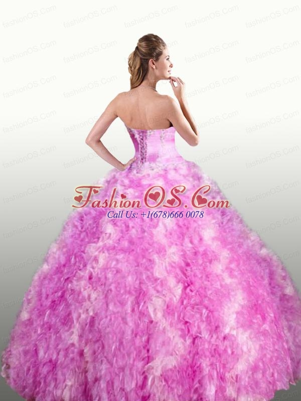 Strapless Beaded Decorate Quinceanera Dresses with Ruffles