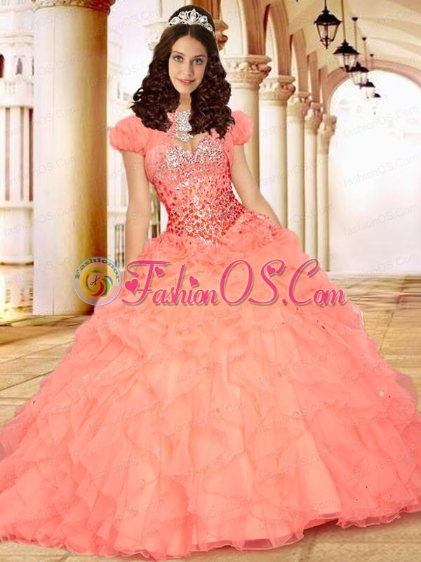 2015 Excellent Sweetheart Peach Quinceanera Dresses with Ruffles and Beading