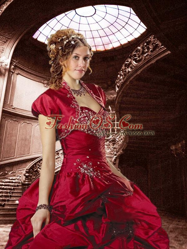 2015 Gorgeous Sweetheart Wine Red Sweet 15 Dress with Beading and Pick Ups