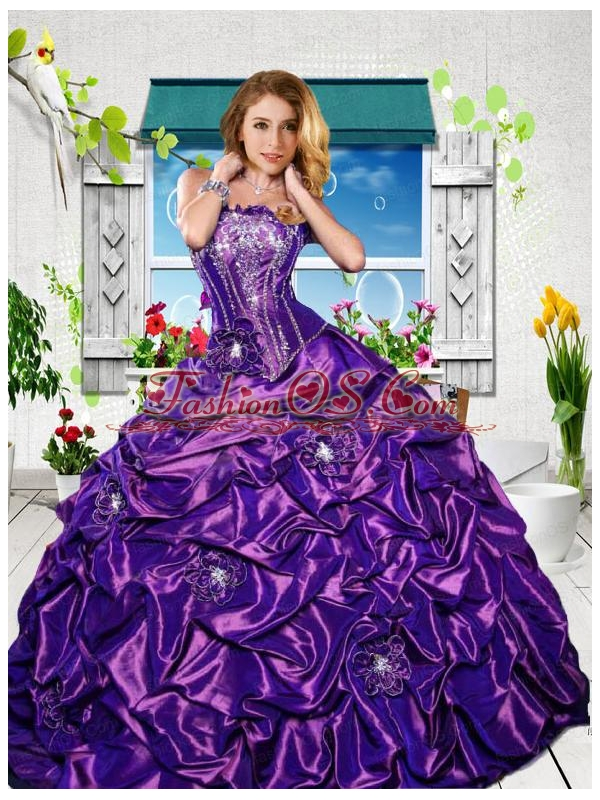 2015 Luxirious Strapless Purple Sweet Sixteen Dresses with Appliques and Pick-ups
