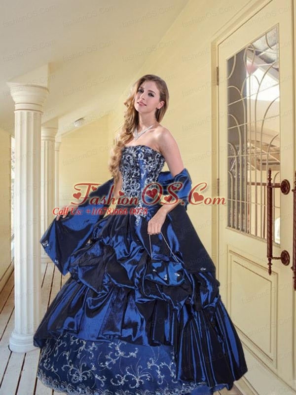 2015 New Style Strapless Navy Blue Sweet Sixteen Dresses with Appliques and Pick-ups