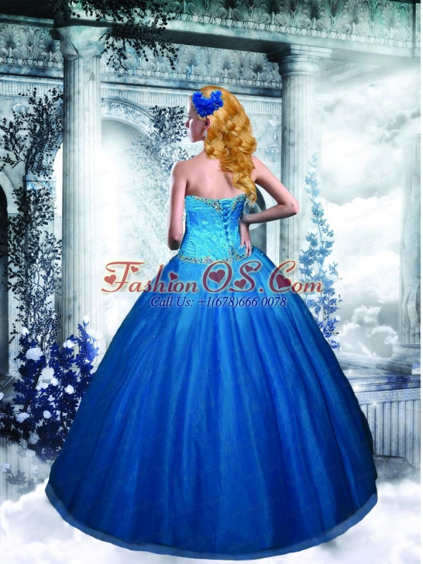 2015 New Style Tulle Sweetheart Beading Quinceanera Dress in Blue