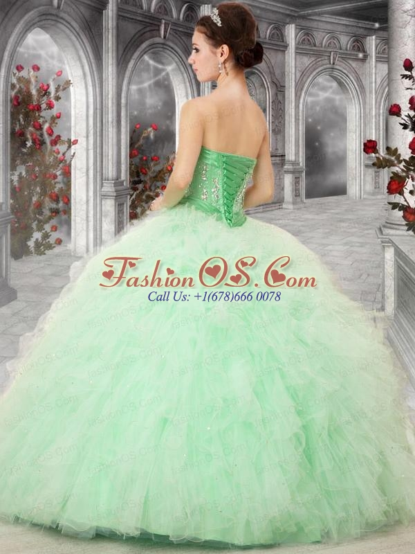 2015 Pretty Sweetheart Peach Quinceanera Dresses with Beading and Ruffles
