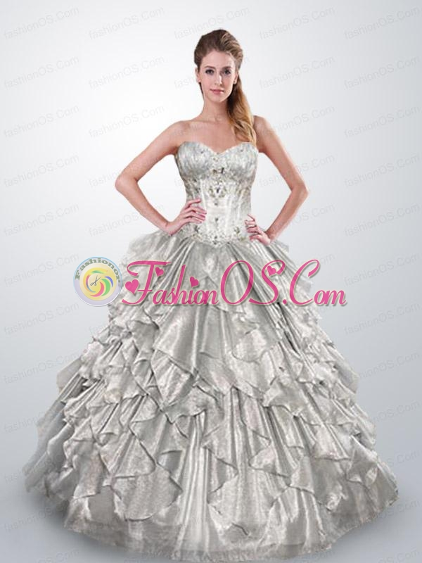 2015 Spring Sweetheart Beaded Decorate Quinceanera Gown in Silver
