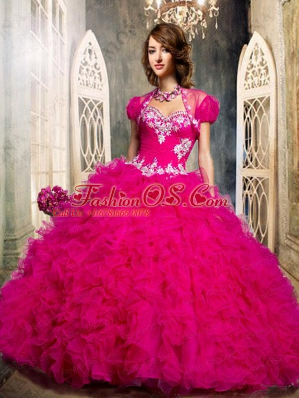 2015 The Most Popular Sweetheart Ruffles and Beading Quinceanera Dresses   in Hot Pink