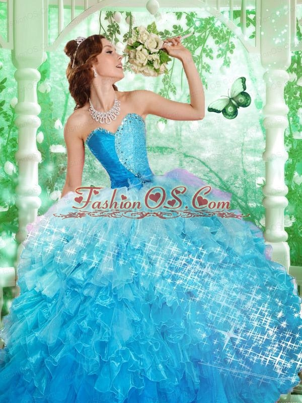 2015 Wonderful Sweetheart Blue Beading and Ruffles Dresses For Quince