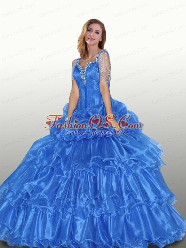 Beaded Decorate Straps Organza Quinceanera Dress in Blue