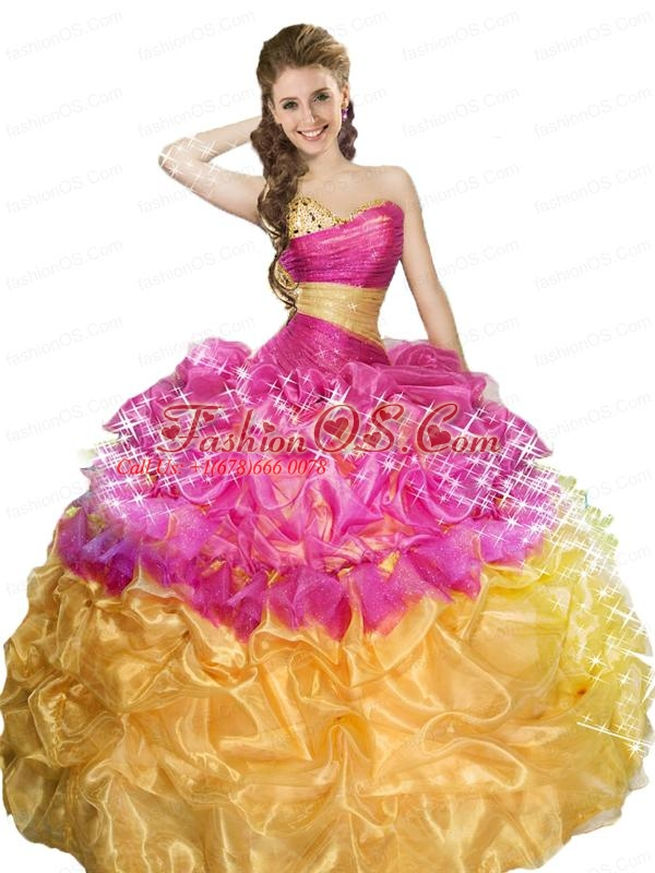 Elegant Sweetheart Fuchsia and Gold Dresses For Quinceanera with Beading and Pick-ups