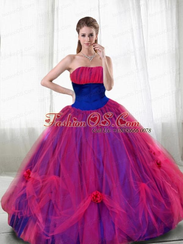Hand Made Flowers and Ruching Quinceanera Dresses with Strapless