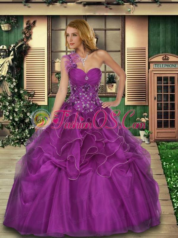 One Shoulder Beaded Decorate Bodice Organza Sweet 16 Dress in Purple