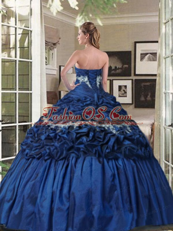 Perfect Strapless Appliqued and Ruffled Royal Blue Dress for Quince