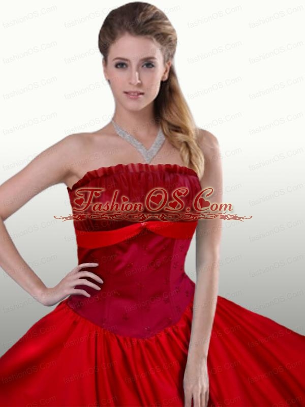 Red Princess Strapless Long Quinceanera Dress for 2015 Spring