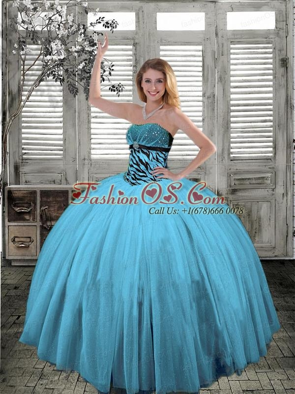 Strapless Beaded Decorate Quinceanera Gown in Spring Green