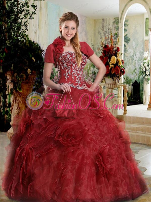 Strapless Orgazna Rolling Flowers Quinceanera Dress in Wine Red
