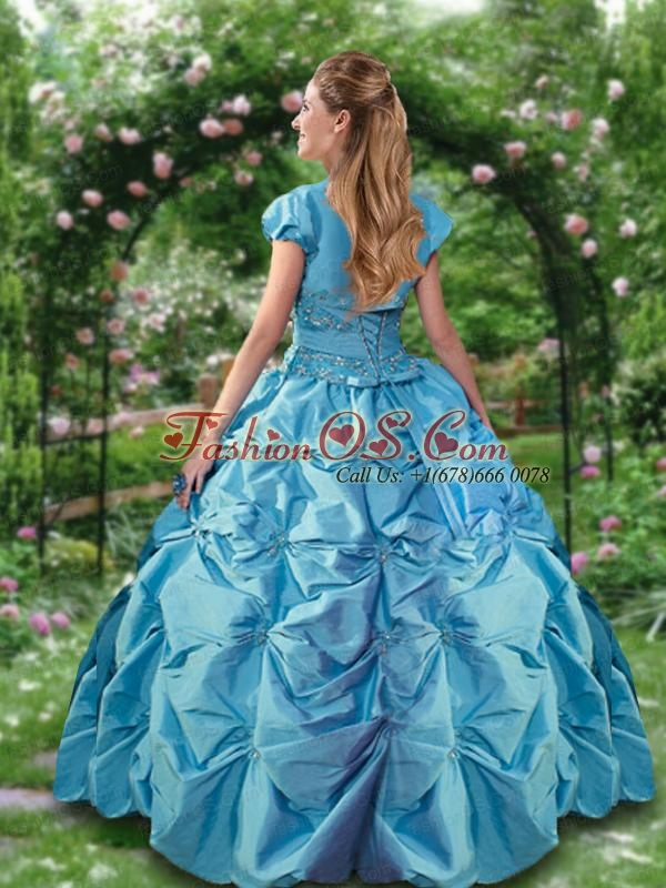Strapless Taffeta Quinceanera Dress with Pick Ups and Appliques