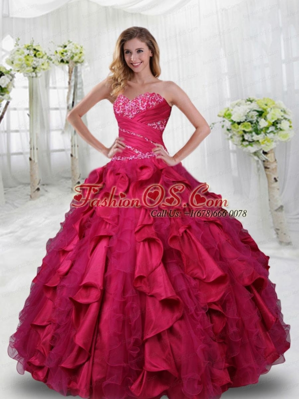 Sweetheart Beading and Ruffles Quinceanera Dresses in Coral Red
