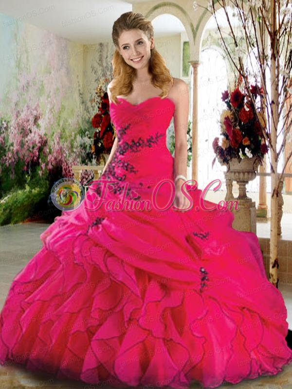 Sweetheart Hot Pink Quinceanera Gown with Appliques and Ruffles