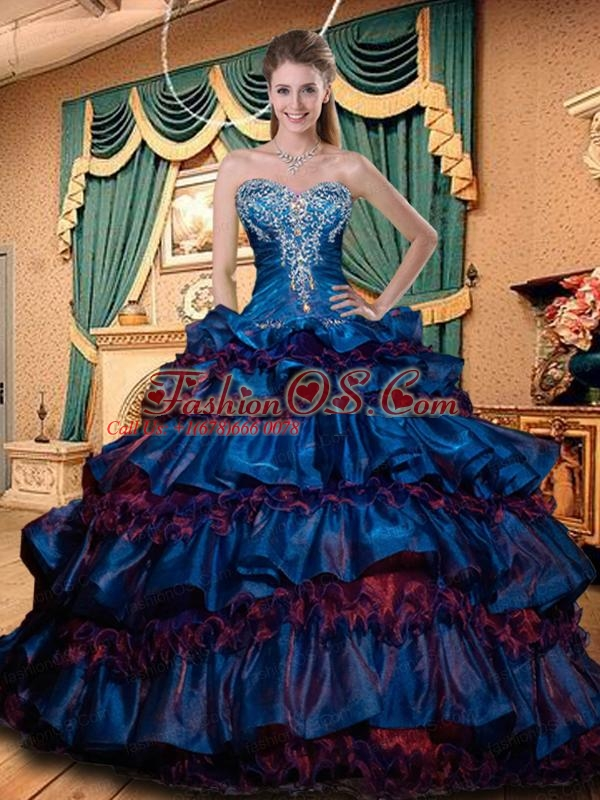 Sweetheart Quinceanera Dresses with Appliques and Ruffled Layers