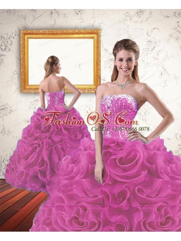2015 Inexpensive Beading and Ruffles Sweet 16 Dress in  Fuchsia
