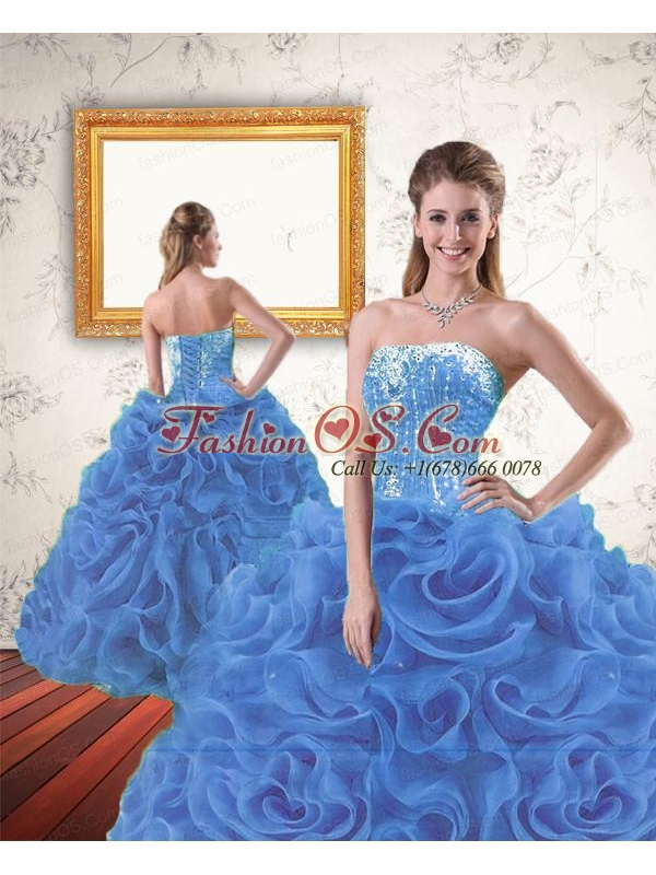 2015 New Arrival Beading and Ruffles Royal Blue Dresses for Quinceanera