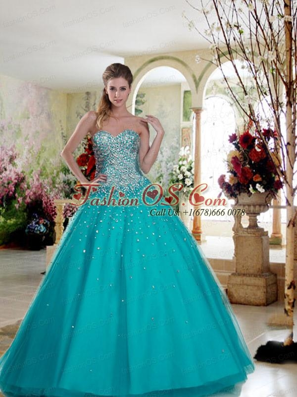 2015 Remarkable Tulle A-line Hot Pink Quinceanera Dress with Beading