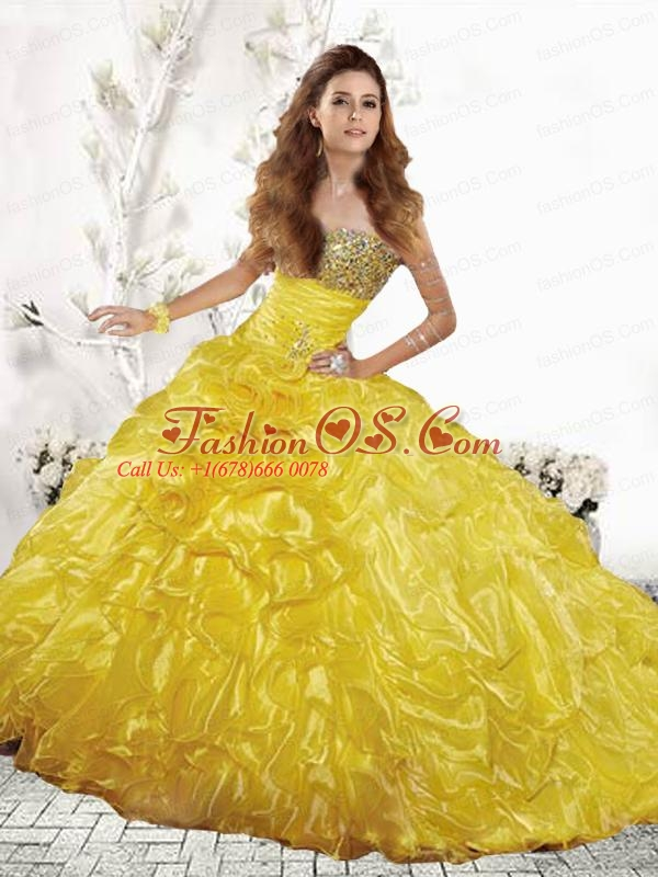 2015 Wonderful Yellow Quinceanera Dresses with Beading and Ruffles