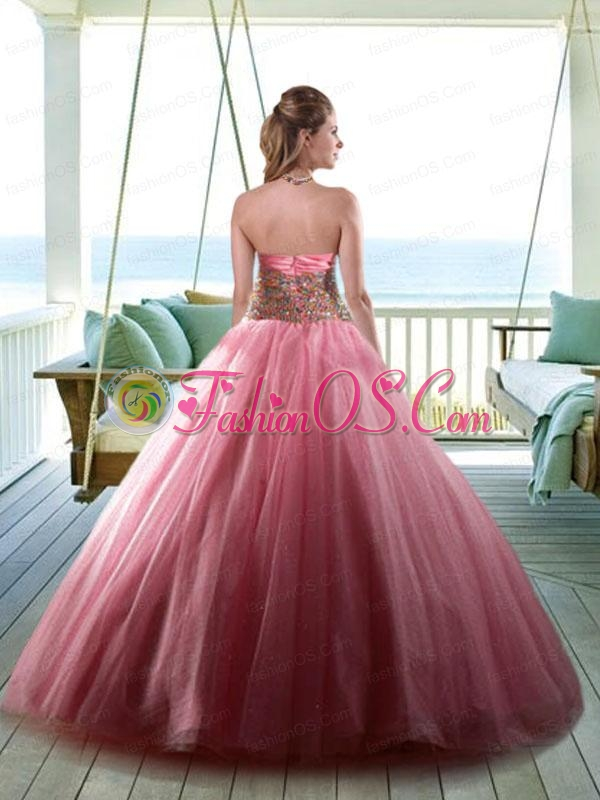 Beaded Decorate Bodice Halter Top Quinceanera in Rose Pink