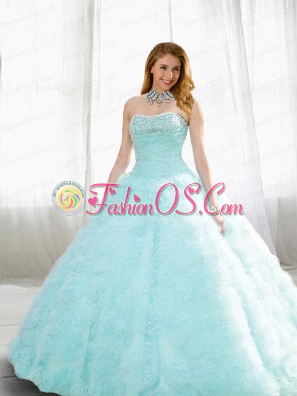 Beading and Ruffles Quinceanera Dresses in Light Blue for 2014