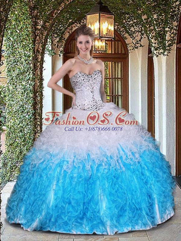 Exquisite White and Blue Quinceanera Dress with Beading and Ruffles