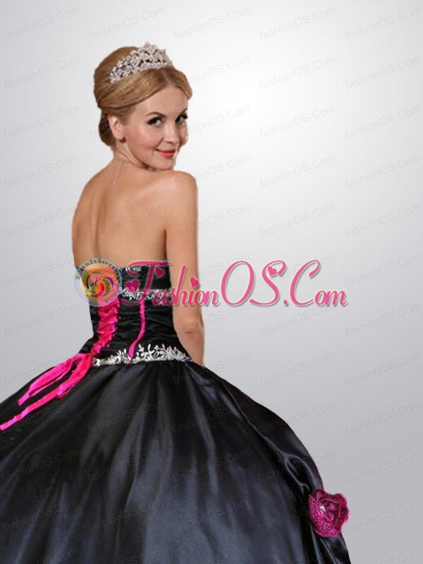 Gorgeous Pink and Black Quinceanera Dress with Hand Made Flower and Beading
