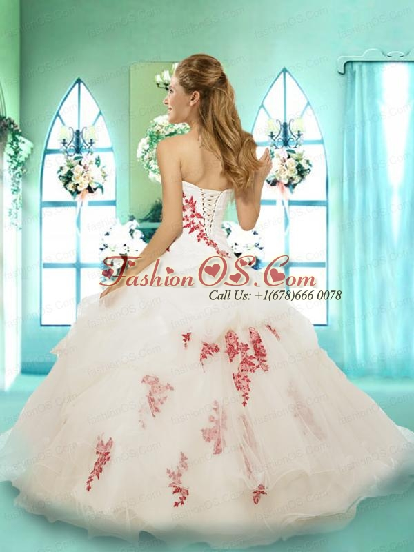 Gorgeous Strapless White Quinceanera Gown with Appliques and Hand Made Flower