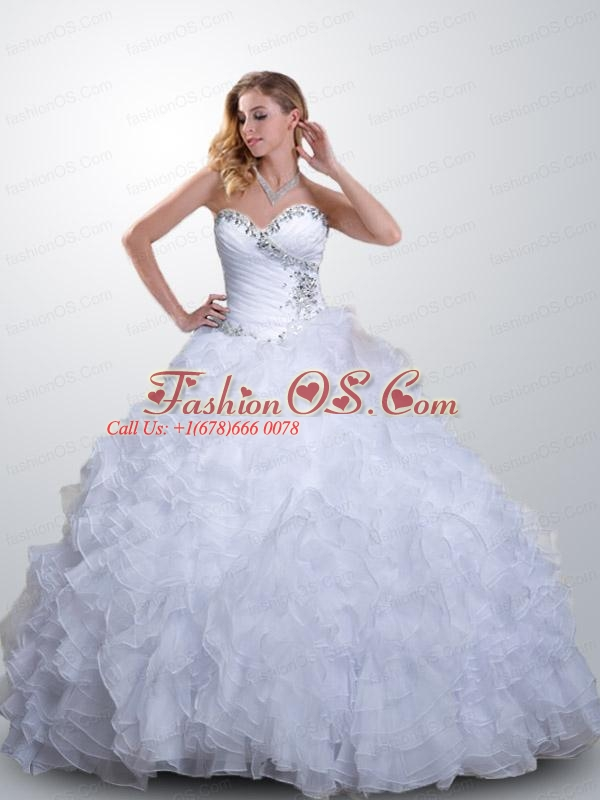 Gorgeous Sweetheart Turquoise Quinceanera Dress with Ruffles and Beading