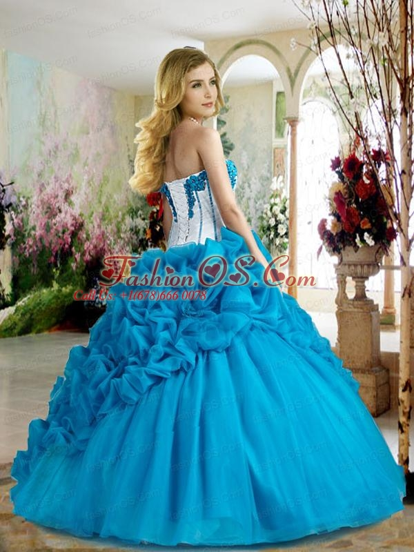 Latest Sweetheart Blue Quinceanera Dresses with Pick Ups and Appliques For 2015