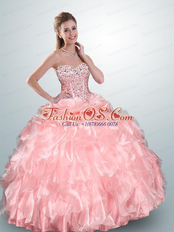 Pretty Sweet Baby Pink Dress For Quince with Beading and Ruffles