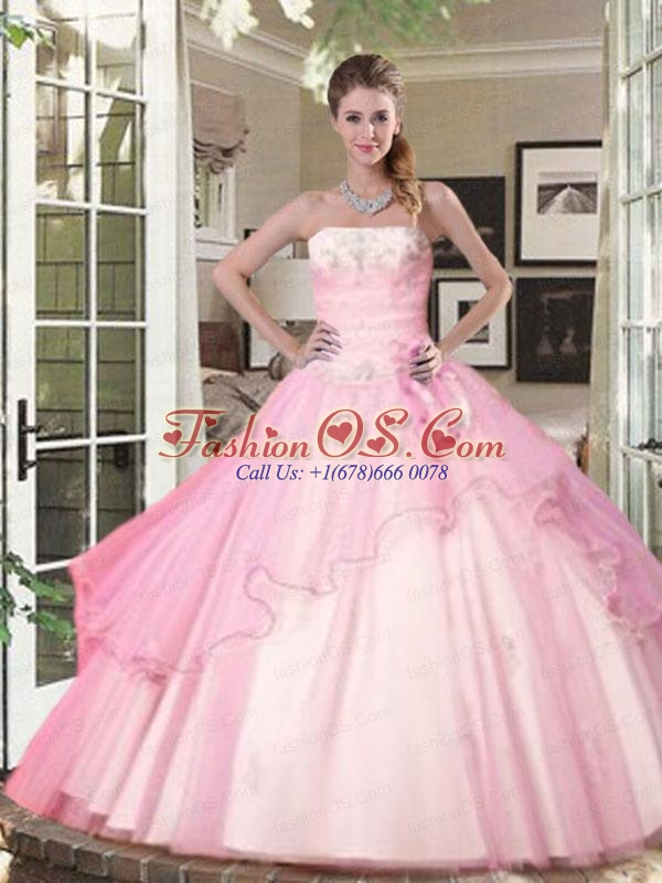 Strapless Beaded Decorate Bodice Quinceanera Dress in Baby Pink