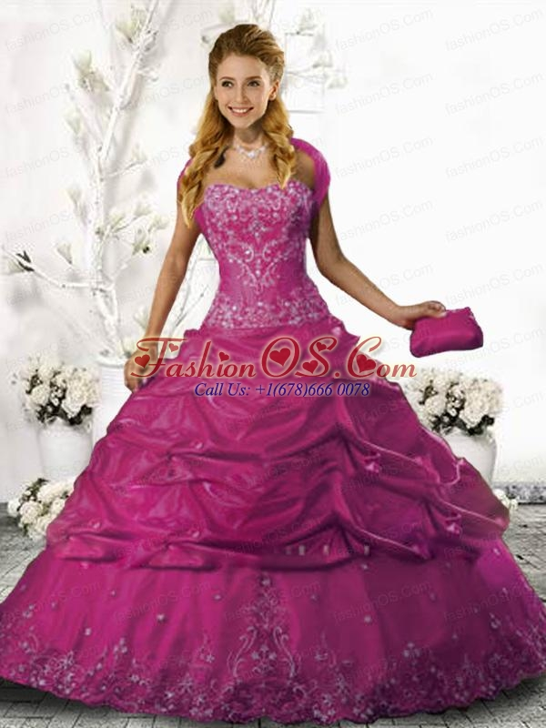 Strapless Fuchsia Organza Quinceanera Gown with Appliques