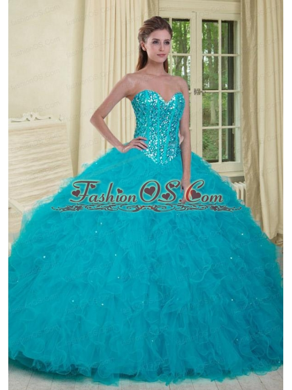 The Brand New Style Sweetheart Spring Green Quinceanera Dress with Beading and Ruffles