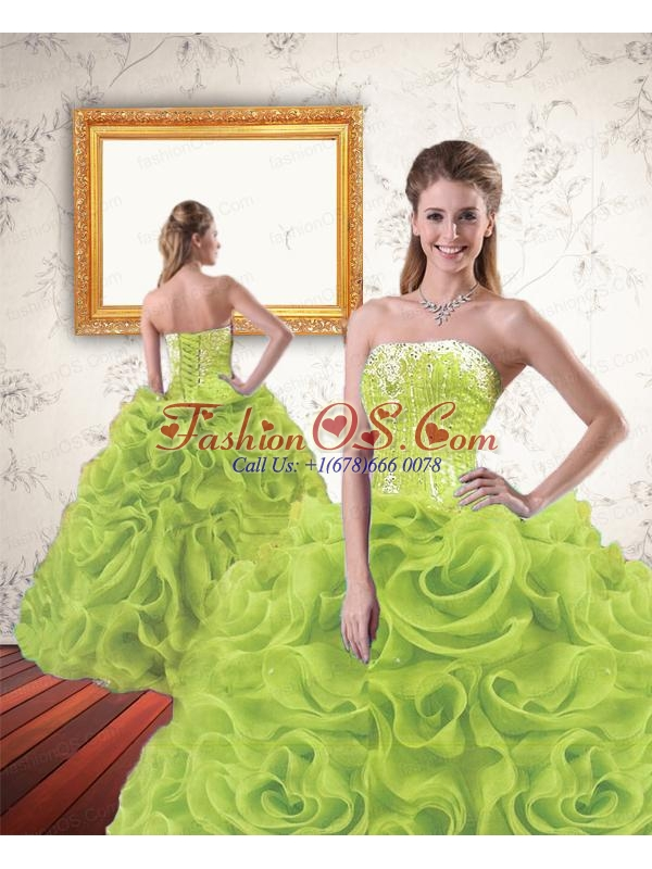 Trendy Beading and Ruffles Quinceanera Dresses in Yellow Green