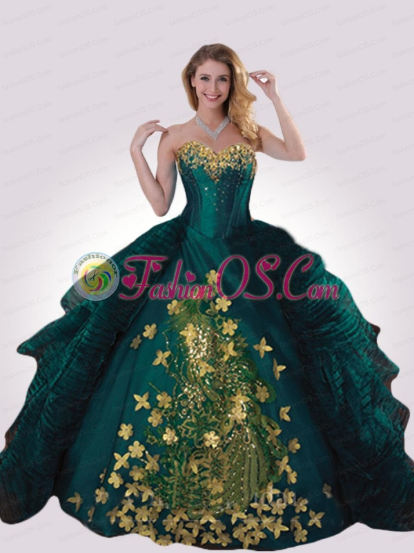 Turquoise Sweetheart Appliques Decorate Quinceanera Gown for 2015
