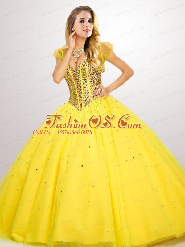 Fashionable Beaded Decorate Quinceanera Dress in Yellow
