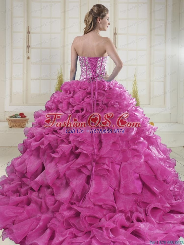 Hot Pink Sweetheart Brush Train Quinceanera Dresses in Sweet 16