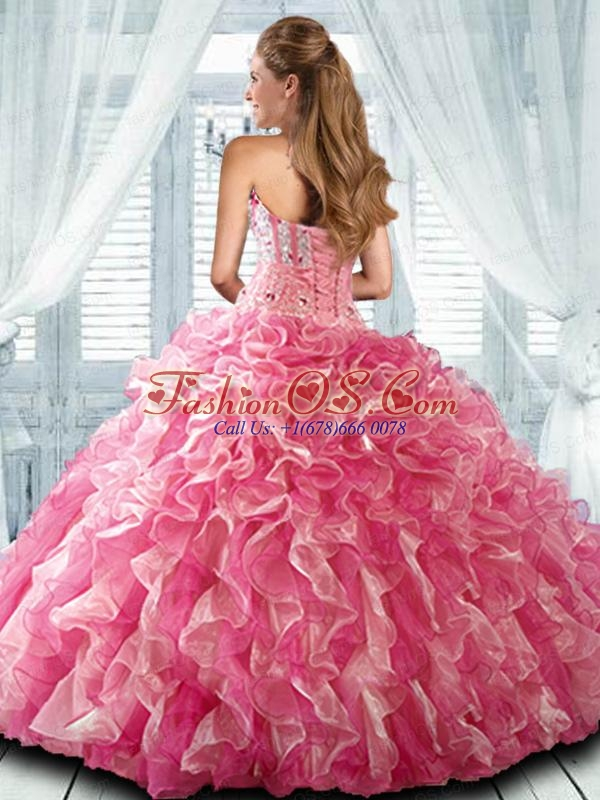 Sweetheart Beading and Applques Quinceanera Gown in Coral Red