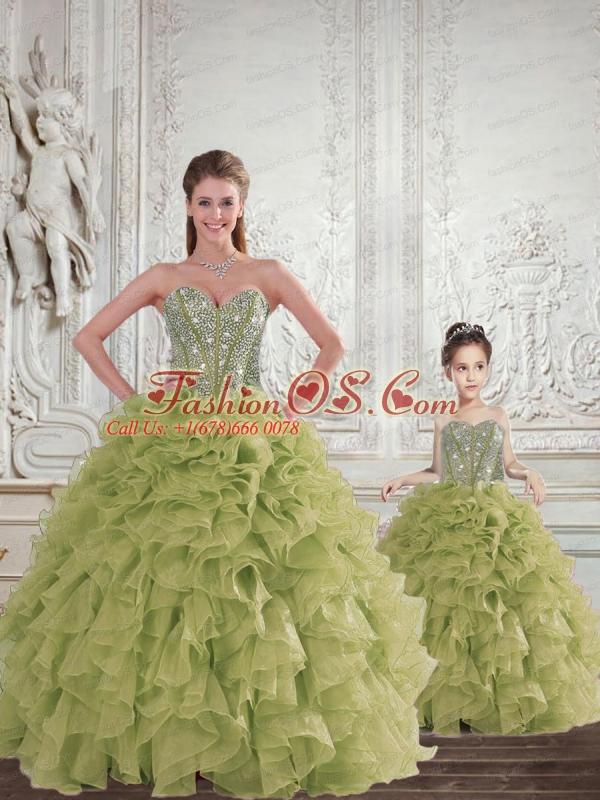 2015 Brand New Beading and Ruffles   Olive Green Princesita Dress