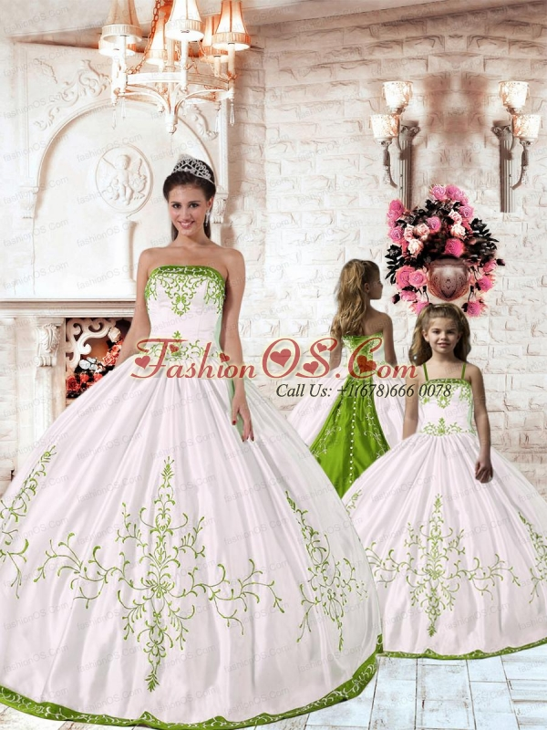 2015 New Arrival White Princesita Dress with Green Embroidery