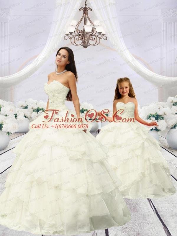 2015 Trendy Beading and Ruching Ivory Princesita Dress