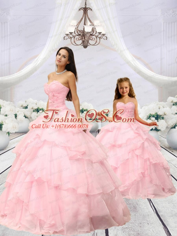 Beading and Hand Made Flower Princesita Dress in Baby Pink with Ruching