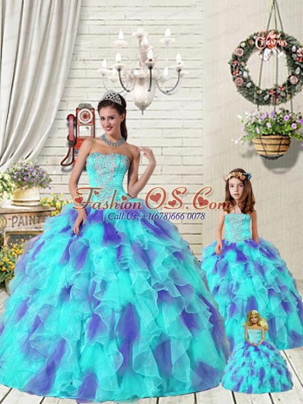 Exquisite Ruffles and Beading Multi-color Princesita Dress for 2015