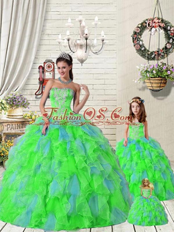 Exquisite Ruffles and Beading Princesita Dress in Multi-color