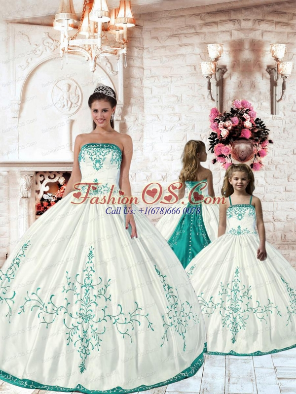 Top Seller White Princesita Dress with Turquoise Embroidery