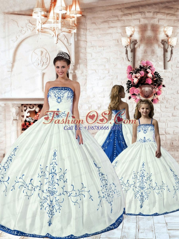 Unique White Princesita Dress with Royal Blue Embroidery for 2015